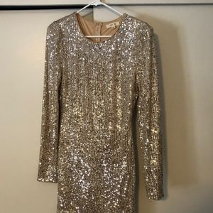 NWOT Vici Collection Gold Sequin Dress - Large